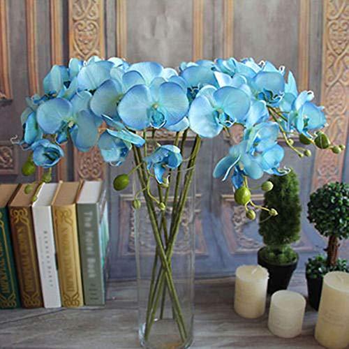 H87yC4ra Bonsai Artificial Flor Artificial Phalaenopsis Ramo Boda Fiesta Decoración del Hogar Azul
