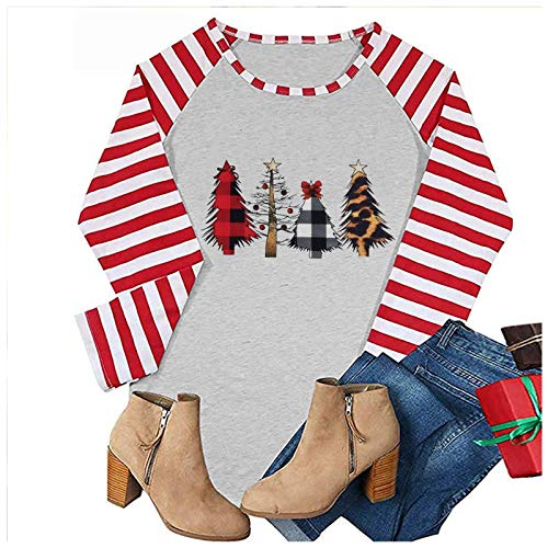 Merry Christmas Long Sleeve Shirts for Women Striped Printed Baseball T-Shirt O-Neck Casual Tees Pullovers Tops