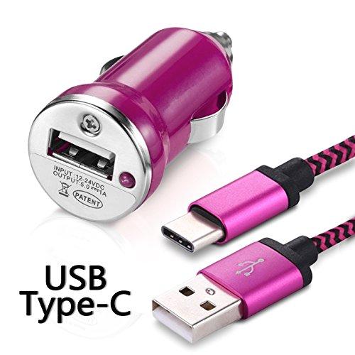 Karylax - Cargador de coche con cable USB tipo C, color rosa fucsia para Huawei P9 Lite