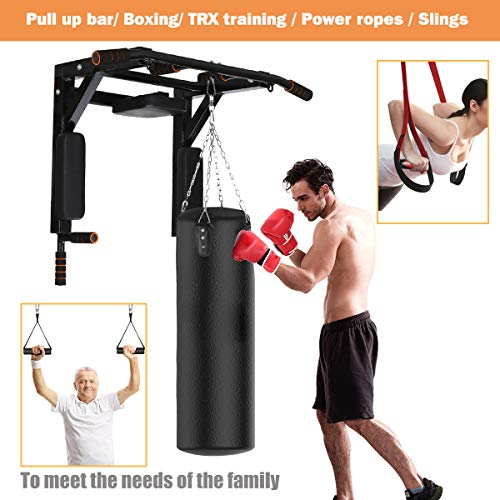 Product Image 5: Slsy Multifunctional Wall Mounte Pull Up Bar and Dip Station, Wall Mounted Chin Up Bar for Home Gym, Power Tower for Home Gym, Supports to 600 Lbs