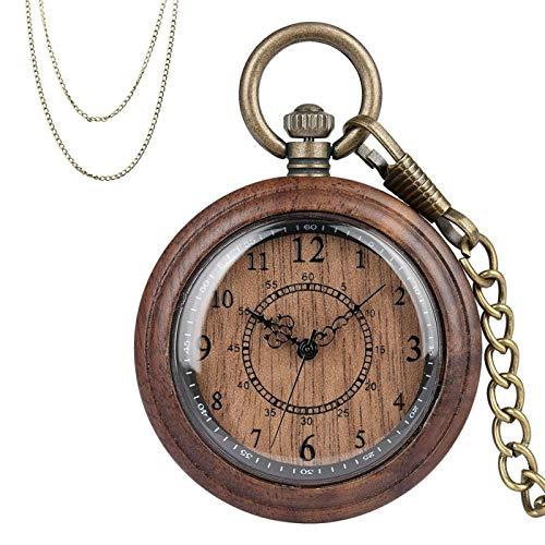 Nuevo Reloj de Bolsillo de Madera de Moda, Caja de Madera Completa, Movimiento de Cuarzo, Colgante de Bronce Antiguo, Cadenas, Regalos, Hombres, Mujeres A