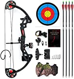 """E-ROCK Youth Compound Bow and Arrow Set for Youth and Beginner, Right Handed, 19""""-28"""" Draw Length, 15-29lbs Draw Weight, Archery Practice Hunting Equipment with 4pcs Carbon Arrows (Black)"""