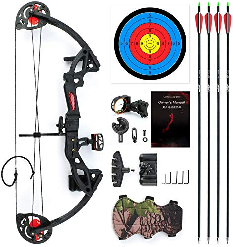 """E-ROCK Youth Compound Bow and Arrow Set with 4pcs Carbon Arrows Archery for Beginner Teenagers, Right/Left Handed, 19""""-28"""" Draw Length, 15-29lbs Draw Weight Archery Hunting Equipment (Black)"""