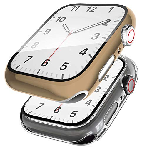 SSEIHI Funda[2 Unidades] Compatible con Apple Watch 38/40/42/44mm,Estuche con TPU Protector de Pantalla,Caja Protector Anti Choque Case para IWatch Series se/6/5/4/3/2/1-Light Gold/Clear