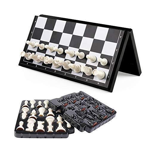 KIDAMI Magnetic Folding Travel Chess Set 11.2×11.2 Inches, Lightweight & Portable with Inner Slots for Pieces Storage (Including Crowns for Changing Pawn to Queen)