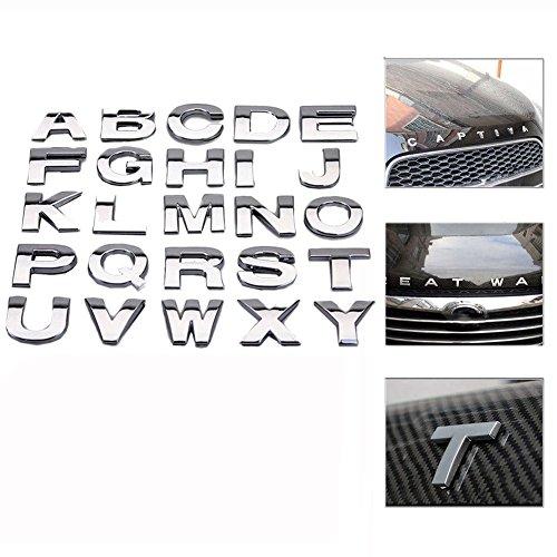 """Juanya - Adhesivos de metal para coche, diseño de letras, con texto en inglés """"Jauanya"""", color plateado"""