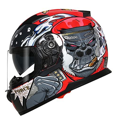 Casco Integral Modular Moto Cascos de Motocross con Doble Visera Casco para Motocicleta, Ciclomotor, Scooter Casco De Protección para Hombres Y Mujeres Adultos, ECE Homologado (Color:D,Size:L=58-59c