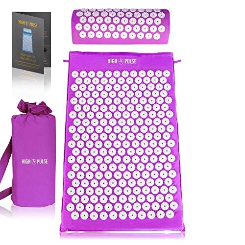 High Pulse Akupressur Set + Tasche + Poster – Akupressurmatte & Kissen stimuliert die Blutzirkulation und löst Verspannungen (Violett)