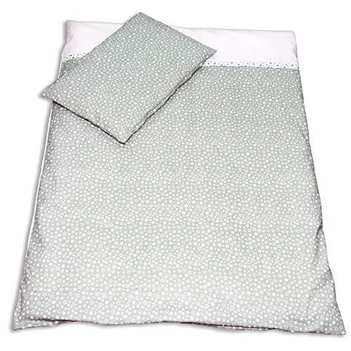 Balbina Reversible Baby Bedding Set  Stars Pink 100 x 135 cm Duvet Cover 40 x 60 cm Pillowcase | 2-Piece 100% Cotton with Zip (Mini Stars Grey/Pink)