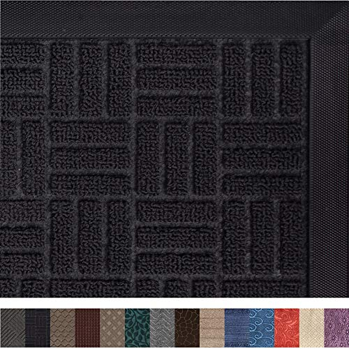 Gorilla Grip Original Durable Rubber Door Mat, 29x17, Heavy Duty Doormat, Indoor Outdoor, Waterproof, Easy Clean, Low-Profile Mats for Entry, Garage, Patio, High Traffic Areas, Black Maze