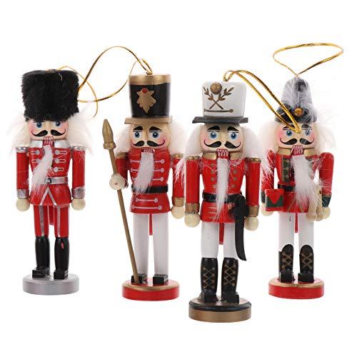VALICLUD Christbaumschmuck Nussknacker Figur Weihnachtsanhänger Nussknacker Soldat Holz Soldaten Puppe Tischdeko Weihnachten Dekofigur Anhänger Weihnachtsschmuck für Tannenbaum Wand Tür