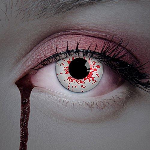 aricona Kontaktlinsen - weiße Jahreslinsen ohne Stärke - Halloween Kontaktlinsen weiß mit roten Bluteffekten