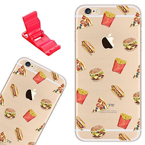 SXUUXB Custodia per iPhone 6s, Trasparente Morbida Copertina in Silicone con Motivo di Frutta Dipinta per Apple iPhone 6/6s 4.7' + 1 Staffa Gratuita (Colore Casuale) - McDonald e Patatine Fritte