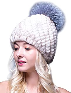 LITHER Thick Winter Genuine Knit Mink Fur Hat with Fox Fur Pom Pom Beanie Winter Warm Cap New Bonnet