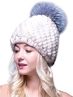 LITHER Thick Winter Genuine Knit Mink Fur Hat with Fox Fur Pom Pom Beanie Winter Warm Cap New Bonnet
