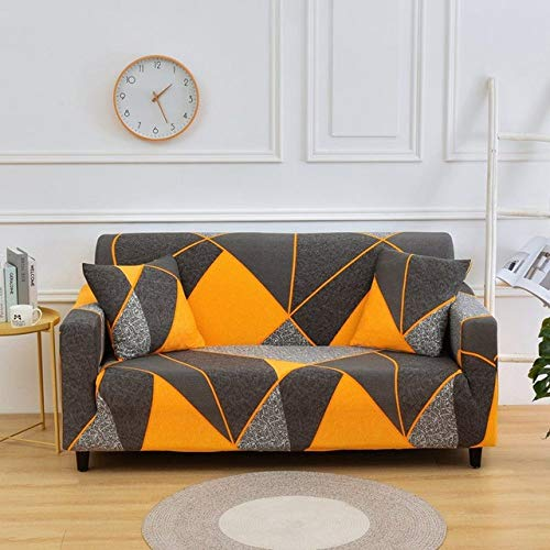 YUHEYUN Orange Geometric Sofa Cover, Stretch Sectional Sofa Cover, Living Room Furniture Cover,Color 9,3,Seater(195,230cm)