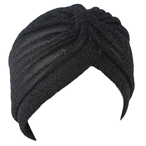 Home-organizer Tech Glister Twist Turban Elastic Hair wrap Boho Chic Hippie Stretchy Soft Headband (Black)