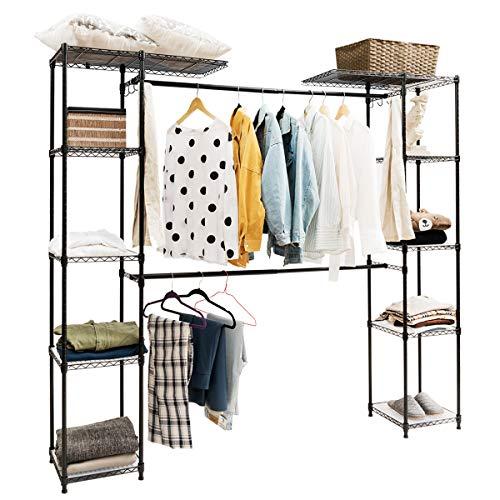 RELAX4LIFE Kleiderständer 8 Ablage, Kleiderschrank ausziehbar, Wäscheständer mit einziehbarer Kleiderstange und Haken, Dielenschrank mit verstellbarer Füßen, Flurgarderobe Kleider aus Stahl (Schwarz)