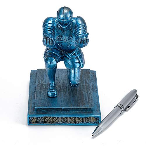 ThreeH Executive Knight Portalápices Soporte para bolígrafo con bolígrafo Decoración personalizada para escritorio Regalo de oficina Azul
