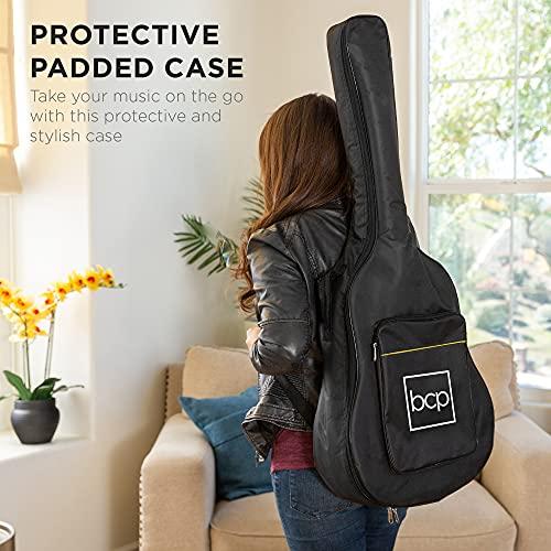 Guitarra acústica 41 pulgadas tamaño completo, natural, incluye estuche, correa y más