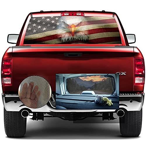 Rear Window Decals for Trucks,Pickup American Flag Window Decal,Eagle Rear Window Tint Graphic Perforated Vinyl Truck Stickers,66' X 20'