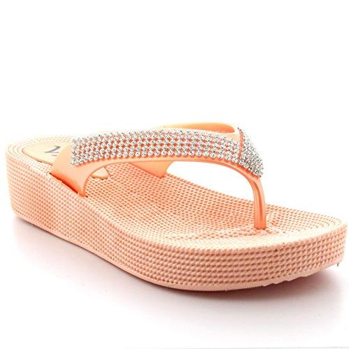Womens Beach Holiday Thong Sandals Jelly Wedge Heel Diamante Flip Flops - Nude - UK5/EU38 - PN0003