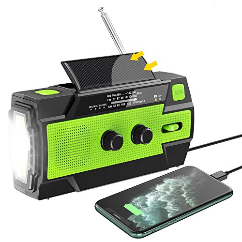 Emergency Hand Crank Radio, Flagicon 2020 Newest Portable AM/FM/NOAA Weather Radio with Cellphone Charger, Motion Sensor Reading Lamp, LED Flashlight, SOS Alarm for Home and Outdoor Emergency