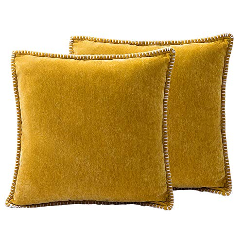 Dricar Fundas de cojín de chenilla, 2 unidades, suaves, cómodas, cuadradas, fundas de cojín decorativas para sofá, silla, coche, dormitorio, sala de estar, 45 x 45 cm (amarillo)