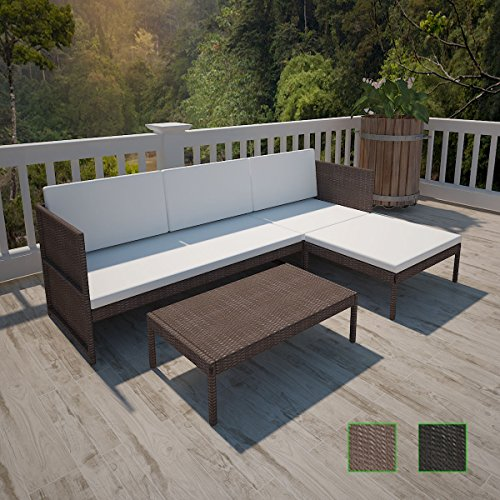 LD Poly Rattan Garden Furniture Lounge Set 3-Seater Sofa Table Cushion