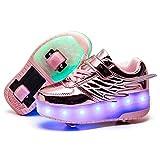 Unisex Niñas Niño LED USB Recargable Zapatillas con Ruedas Single Doble Ronda ala Neutra Automática de Skate de Patìn Zapatos Calzado de Deportes de Exterior