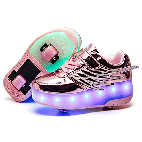 Unisex Niñas Niño LED USB Recargable Zapatillas con Ruedas Single Doble Ronda...