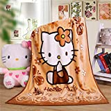 Cartoon Throw Blanket Hello Kitty Adults & Baby Cozy Plush Fleece Coral Velvet Fuzzy Blanket for Bedroom Bed,Couch Chair,Living Room,Air Conditioning Cool Blankets 40'X55' (Brown)