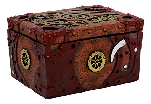 "Ebros Steampunk Mechanical Gears Clockwork Decorative Box Figurine 5"" L Science Fiction Time Waits for No Man Jewelry Box 5"