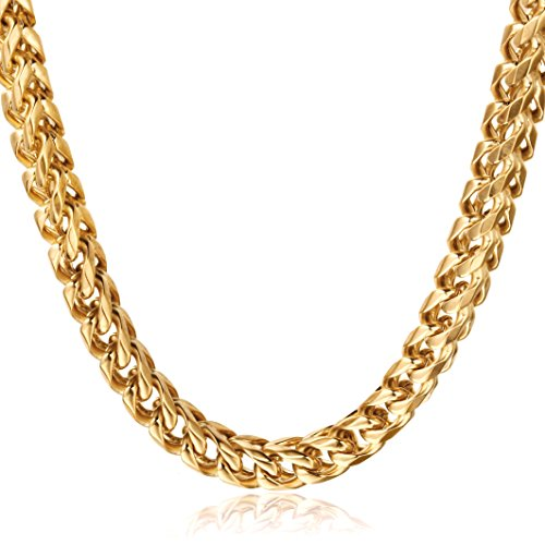 """FIBO STEEL 6mm Thick Curb Chain Necklace for Men Stainless Steel Biker, 24"""""""