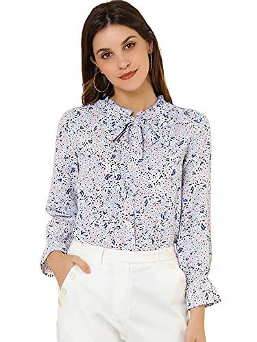Allegra K Women's Bow Tie Ruffle Collar Button Down Long Sleeve Chiffon Vintage Floral Blouse Medium Lavender