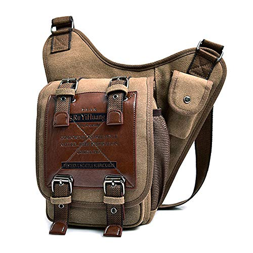 SPAHER Heren Mannen schoudertas Ipad Messenger Bag voor mannen Canvas PU leer Militaire Utility schoudertas Crossbody Casual Satchel voor werk en school