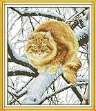Mjxxxlsd bordado de punto de cruz, kit de punto de cruz de costura DIY set-cat on the tree 11CT cuadro de bordado, patrón de punto de cruz bordado preimpreso juego de bordado artesanía 40 x 50 cm