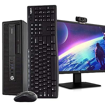 "HP 800 G2 Desktop PC Computer, i5-6500, 16GB DDR4 RAM 512GB SSD, Windows 10 Pro, New 23.6"" FHD LED Monitor, New 1080p Periphio Webcam, New 16GB Flash Drive, Wireless Keyboard & Mouse, WiFi (Renewed)"