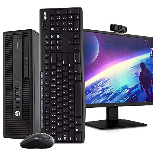 "HP 800G2 PC Desktop Computer, i5-6500, 8GB DDR4 RAM 240GB SSD, Windows 10 Pro, New 23.6"" FHD LED Monitor, New 1080p Periphio Webcam, New 16GB Flash Drive, Wireless Keyboard & Mouse, WiFi (Renewed)"
