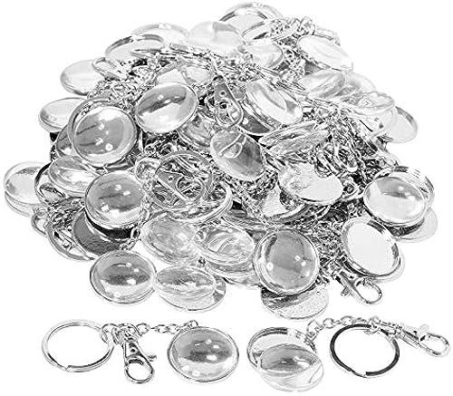 Glorex GmbH 50 Cabochons Anh er Schlüssel Silber rund mit Glasstein  handelSpaßkung