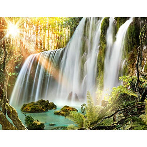 Runa Art Fototapete Wasserfall Landschaft Modern Vlies Wohnzimmer Schlafzimmer Flur - made in Germany - Grün Weiss 9344010a
