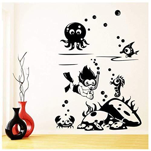 huayao Wasser Welt Wandtattoo Schnorchel Freundliche Innenarchitektur Wohnkultur Für Kinder Schlafzimmer Badezimmer Vinyl Fenster Aufkleber Tapete 42X30Cm