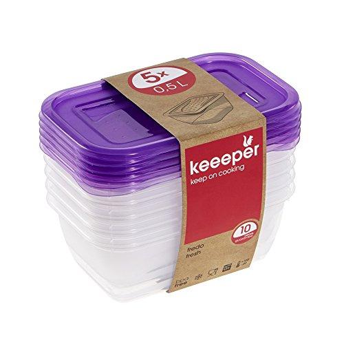 keeeper Frischhaltedosenset 5-teilig, 5 x 500 ml, 15,5 x 10,5 x 6 cm, Fredo Fresh, Lila Transparent