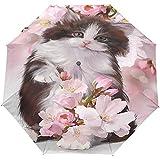 Funny Cat Kitten Cherry Blossom 3 Pliegues Auto Open Close Anti-UV Umbrella