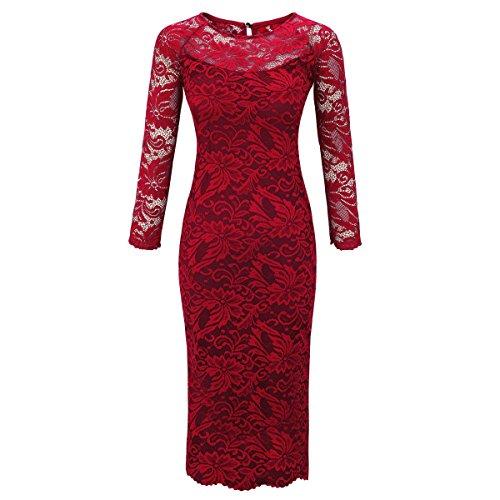 Laeticia Dreams Damen Kleid aus Spitze Langarm Wadenlang S M L XL XXL XXXL, Farbe:Weinrot;Größe:38