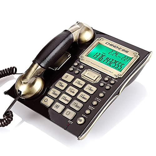zhangmeiren Teléfono Antiguo Hogar Moda Retro Estación Máquina Oficina Identificación De Llamada De Teléfono, Mirada Antigua Elegante, Número De Informe De Llamada, Se Puede Conectar (Color : Black)