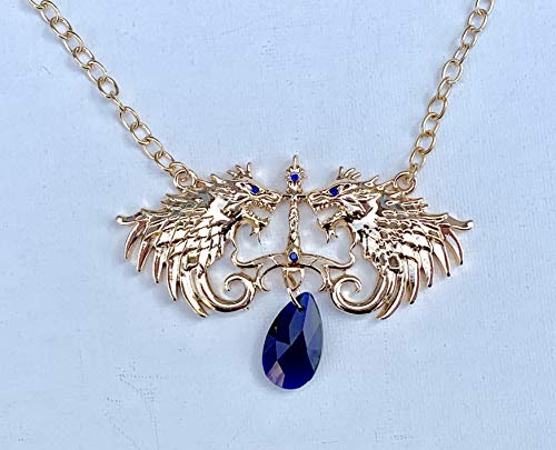 Wolf of Fire and Ice Gold & Blue Small Pendant Necklace/Game of Thrones Direwolf Jon Snow inspired cosplay jewelry