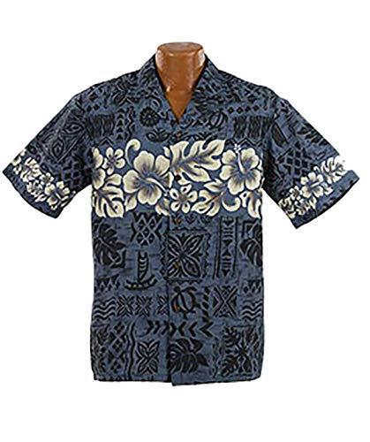 Made in Hawaii Original Hawaiihemd Aloha Shirt Herren Alle Grössen M-7XL Moderne Designs Fronttasche Matching Pocket Hohe Qualität 100{ffd6d7b2df99ac0de4808f579bbf69064a5c5dab643369aa33dc9ad6131538f2} Baumwolle (Hibiscus Band, L)