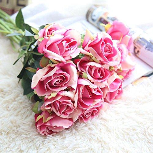 Flores Artificiales, Xinan Rosas de Seda Flor de Novia Ramo de Bodas Decoración del Hogar (Rosa)