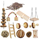 ZUDZUW 12PCS Hamster Chew Toy Set,Rat Toys Natural Pine Wood,Gerbil,Hamster,Chinchilla's Favorite Chewing Toy,Toys Accessories,Suitable for Small Pet Chewing and Playing Sports